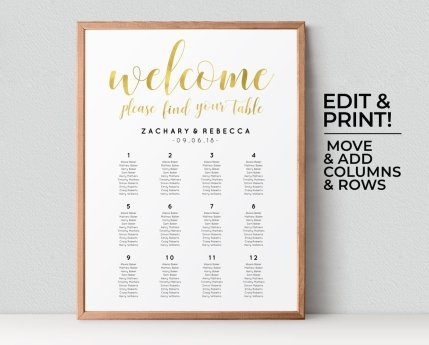 Printable seating chart - https://www.etsy.com/nz/listing/518161512/gold-wedding-seating-chart-template-boho?ga_order=most_relevant&ga_search_type=all&ga_view_type=gallery&ga_search_query=wedding+reception+decor&ref=sr_gallery-3-3&organic_search_click=1