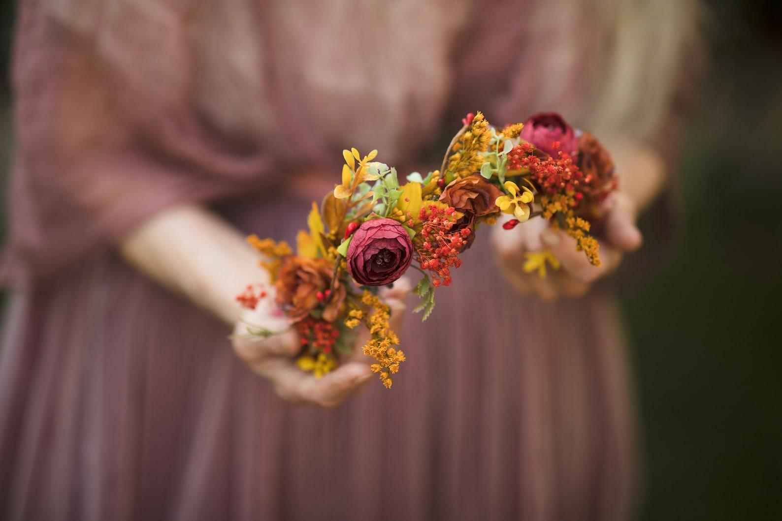Autumn/Fall flower half-crown
