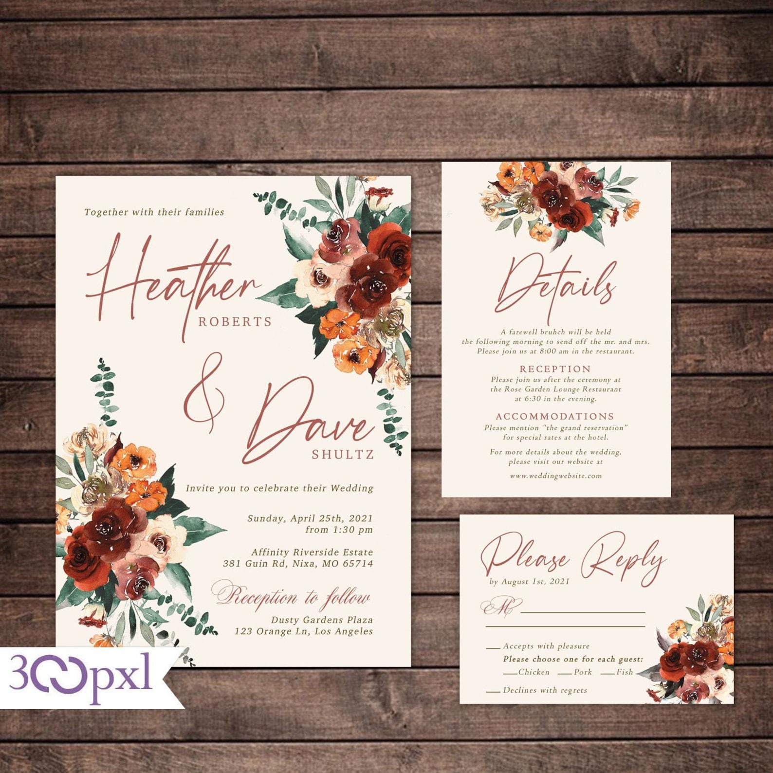 Autumn/Fall themed wedding invitations
