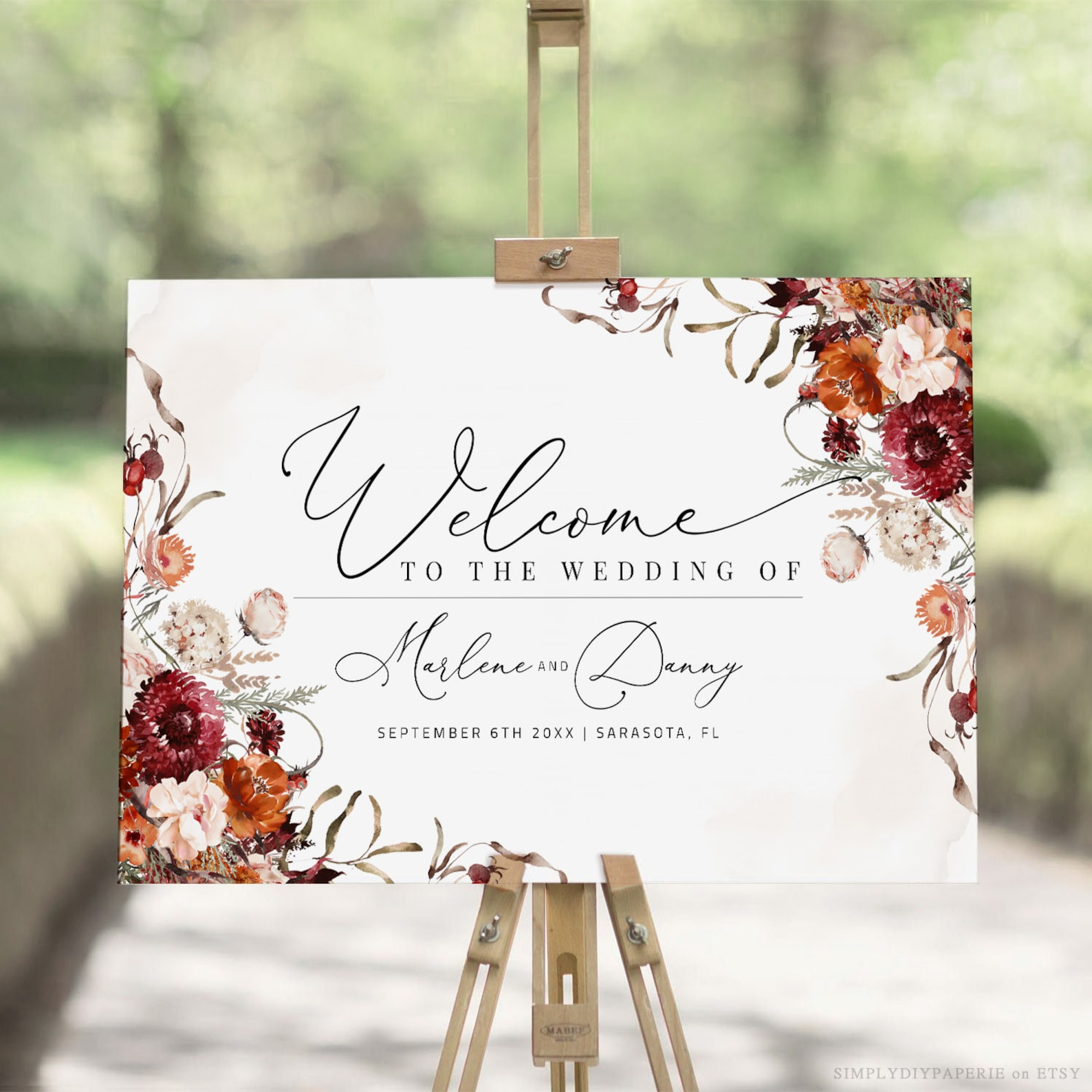 Autumn/Fall wedding welcome sign