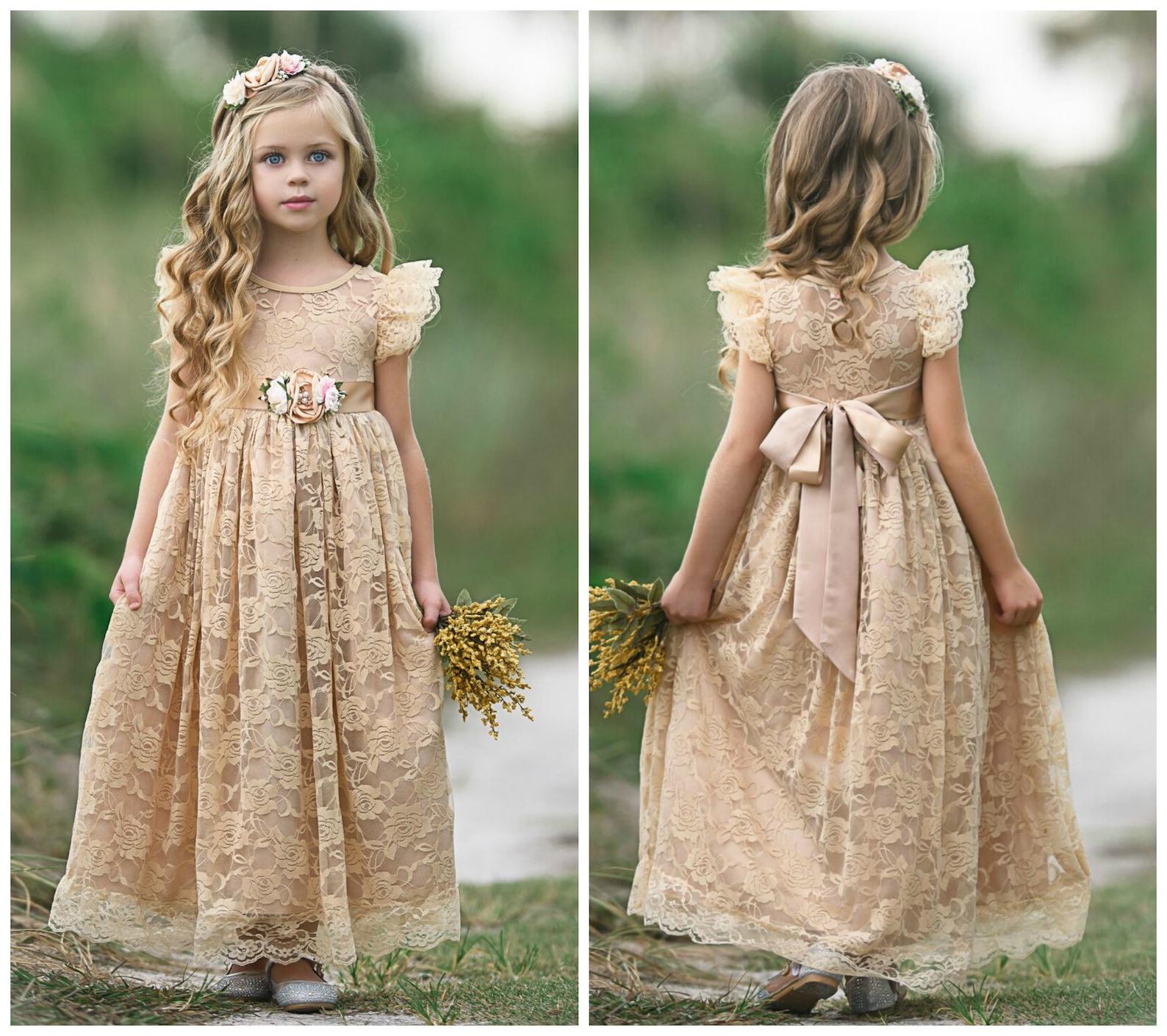 Boho lace flower girl dress