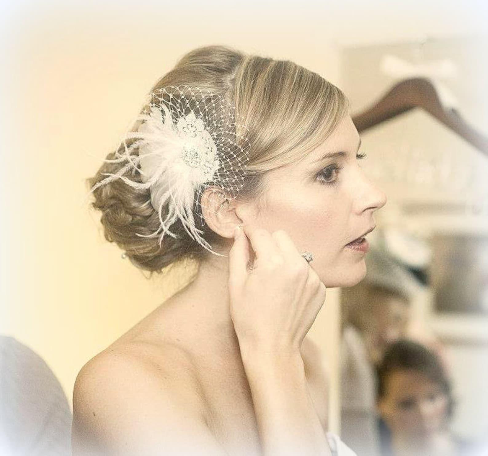 Bridal feather hair clip