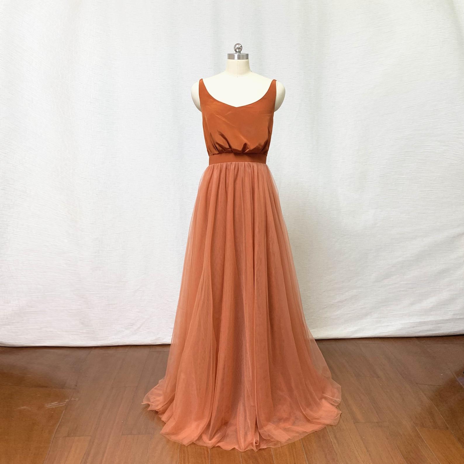 Burnt orange tulle bridesmaid dress