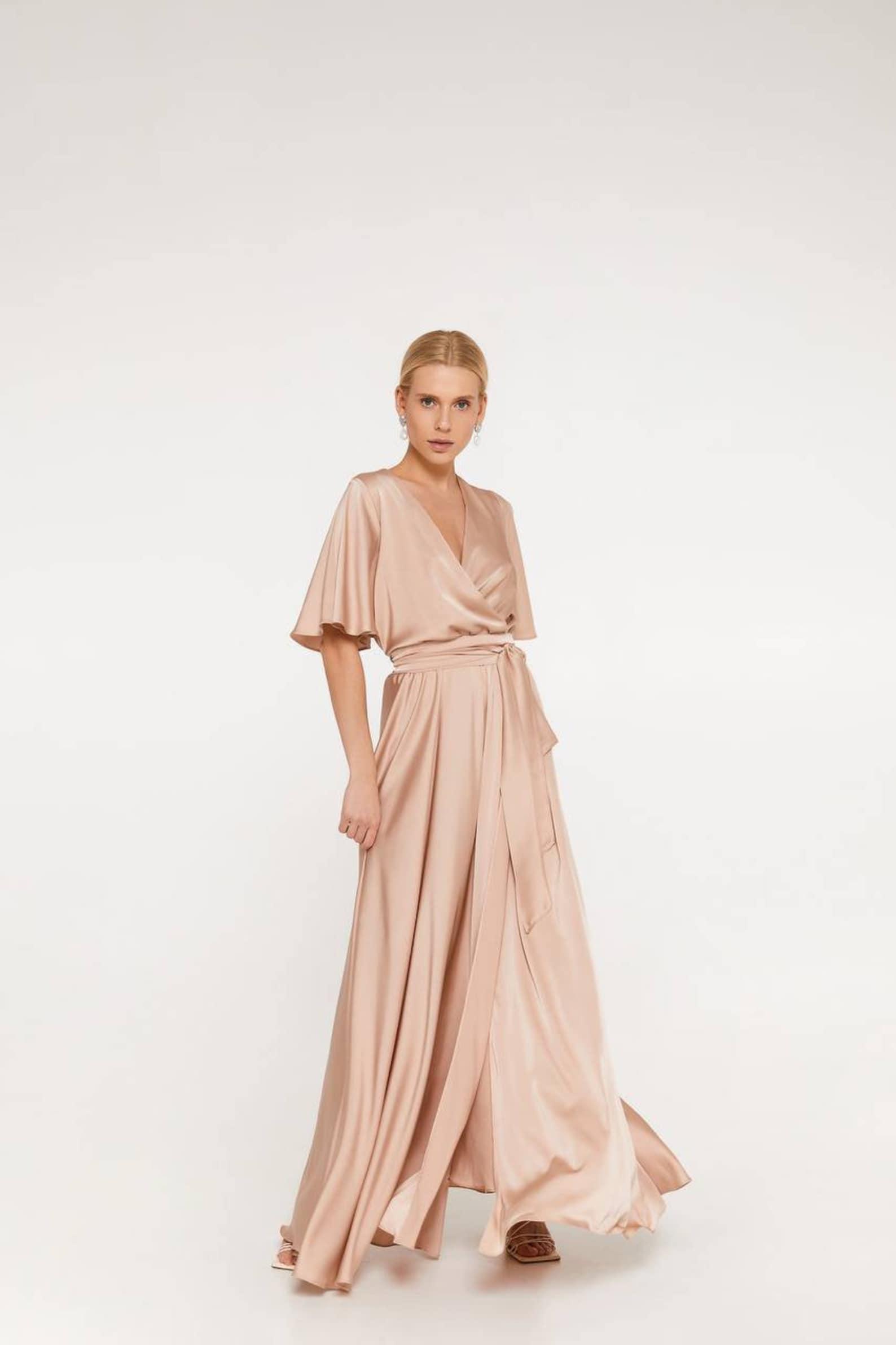Champagne flutter sleeve bridesmaid dress