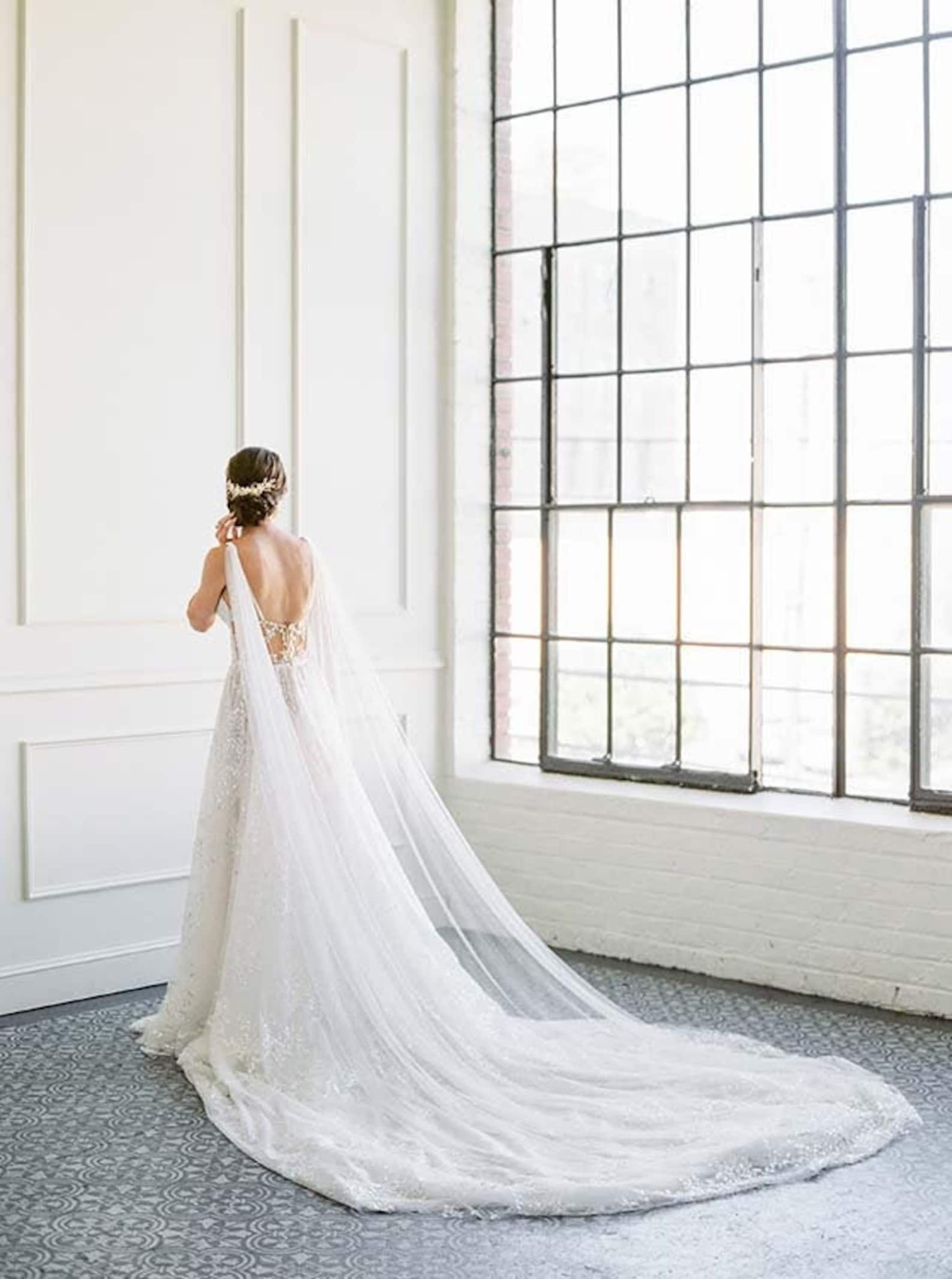 Bridal draped wedding cape