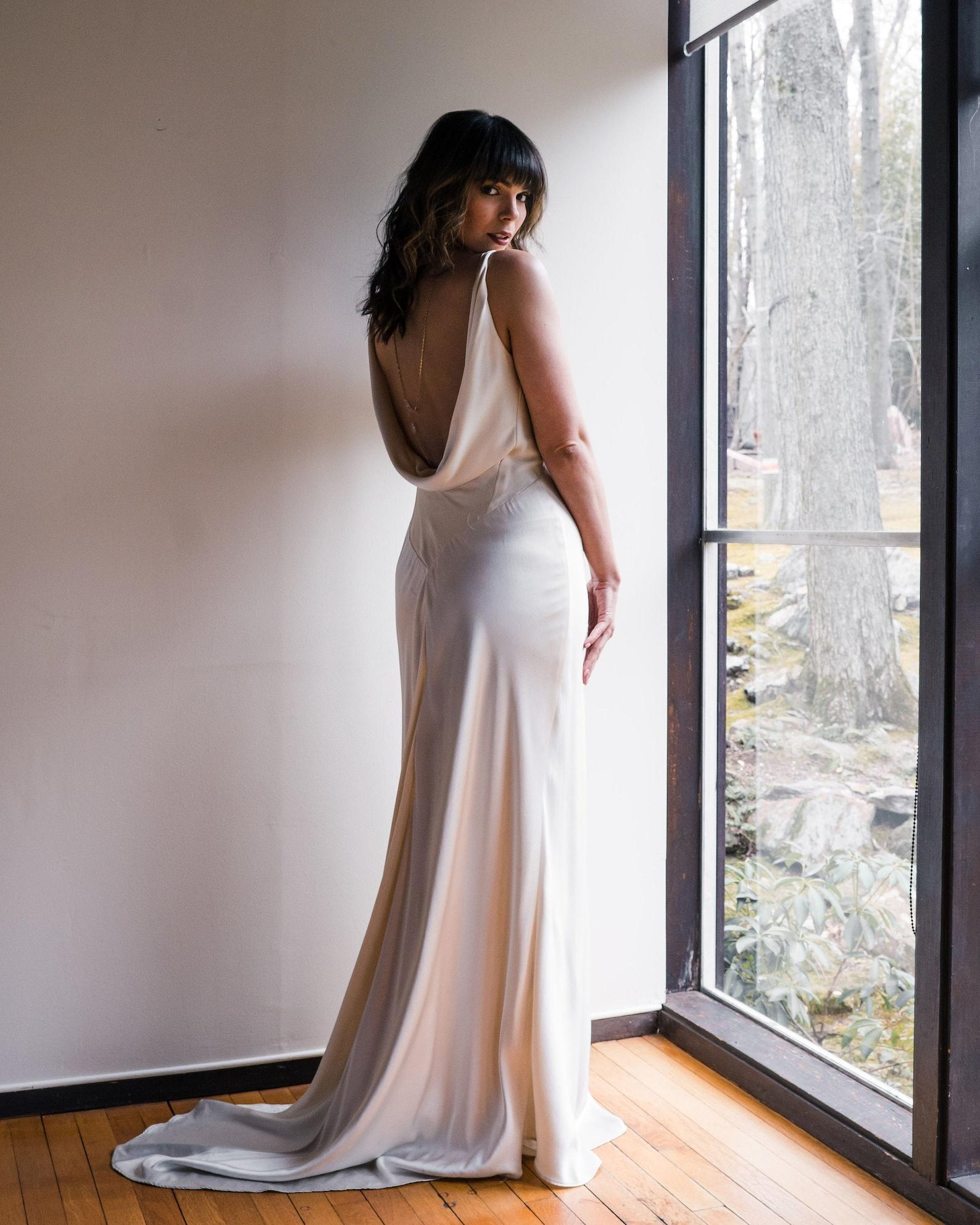 Cowl-back wedding dress