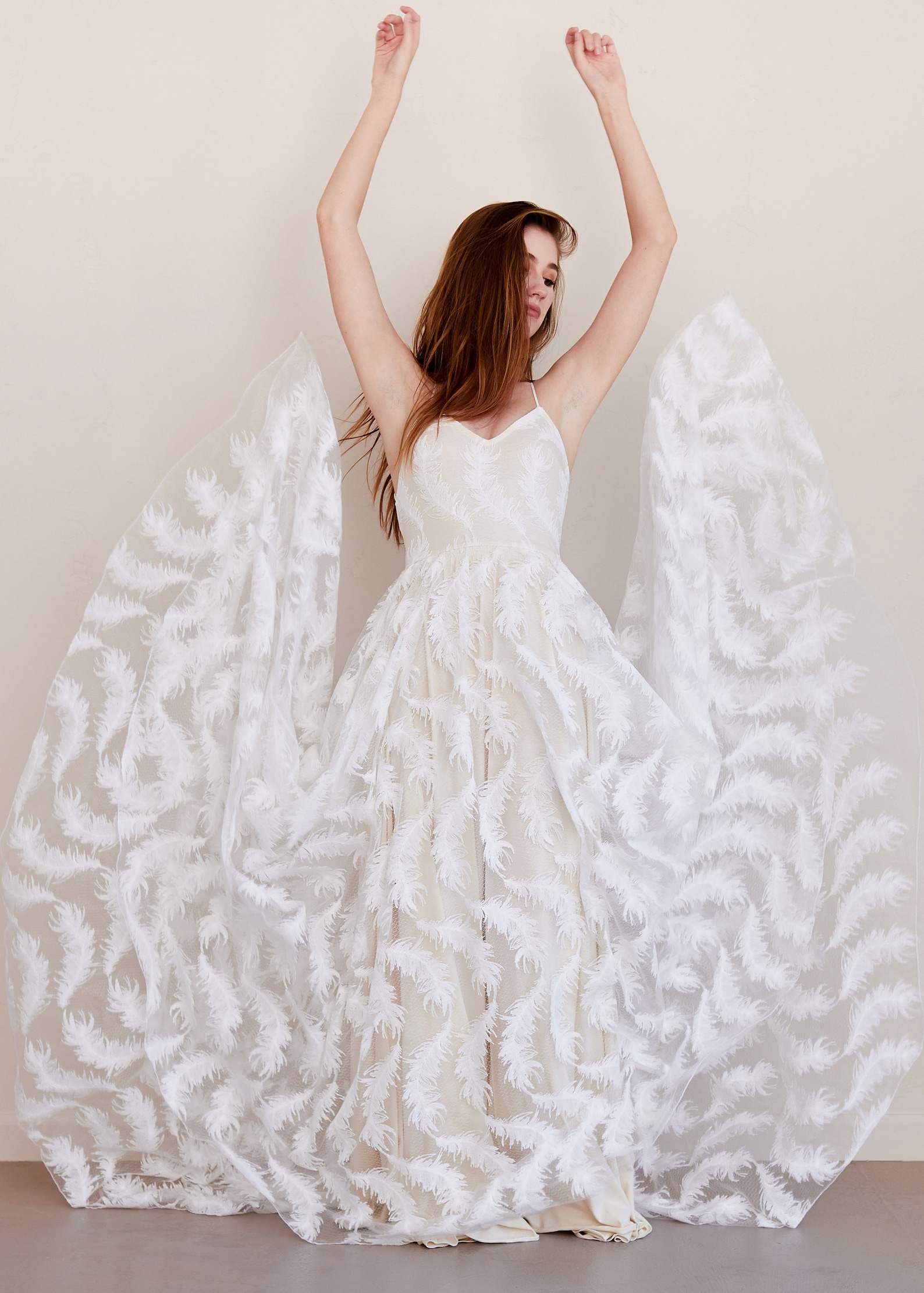 Feather print wedding dress