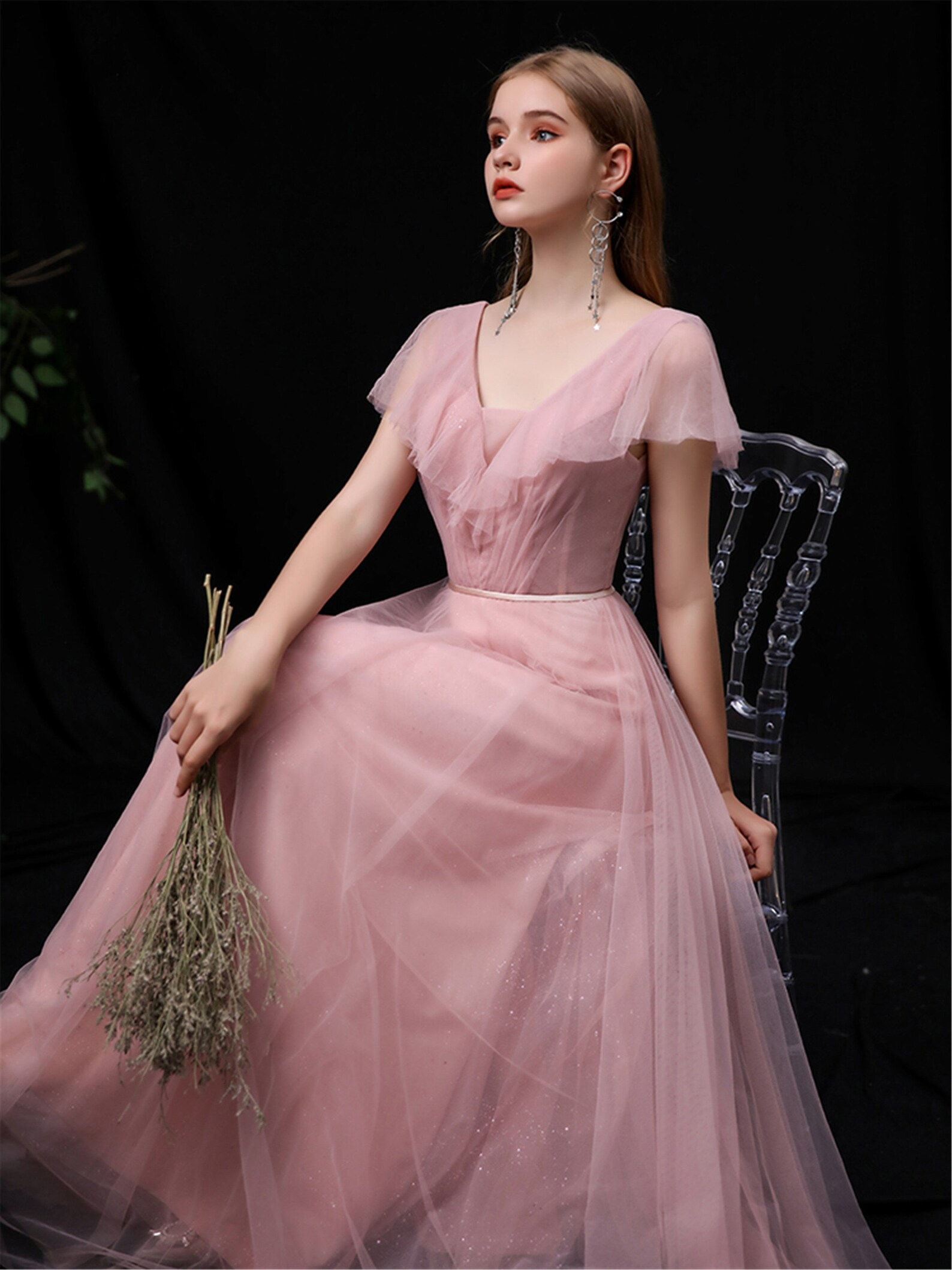 Flutter sleeve bridesmaid dress
