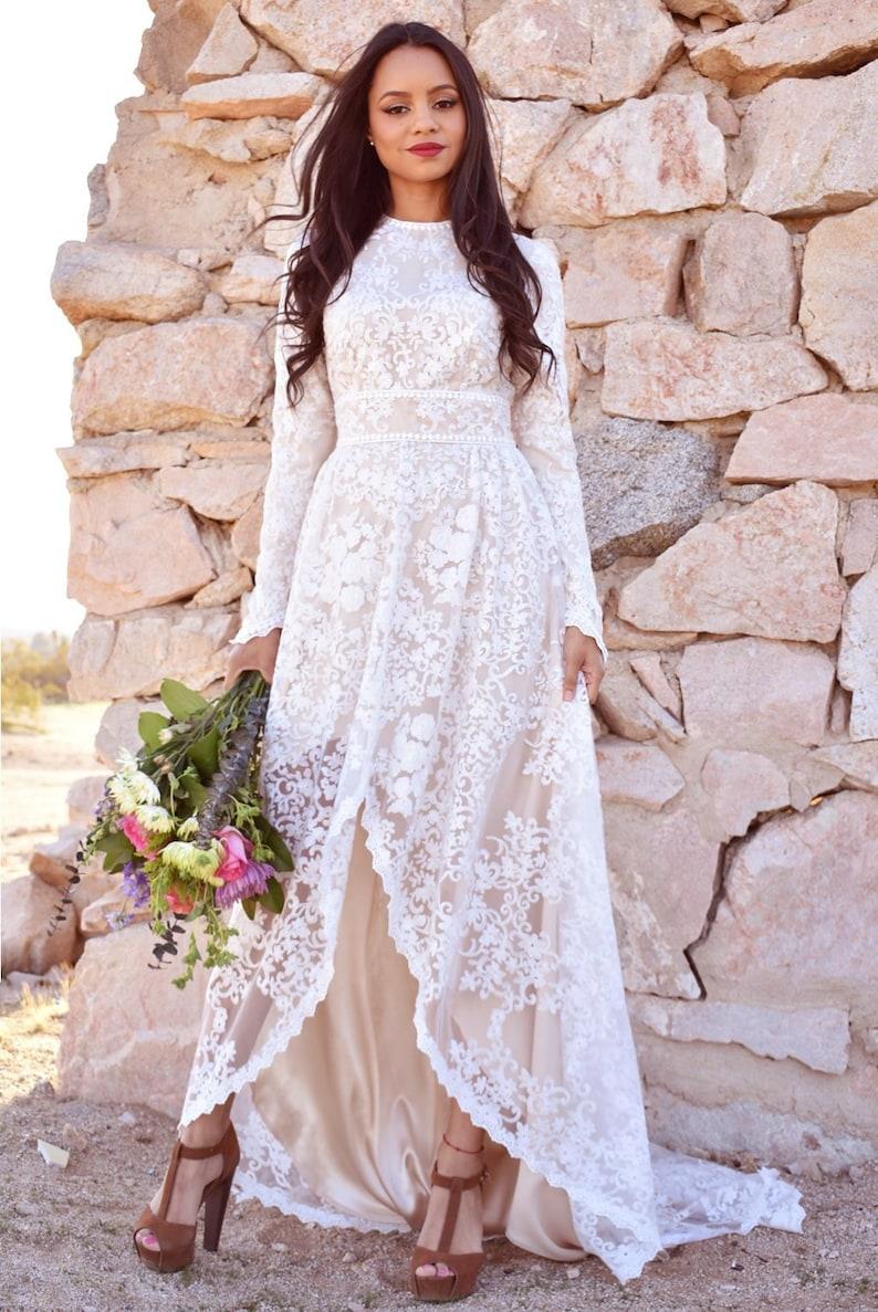 Floral lace long-sleeved boho wedding dress