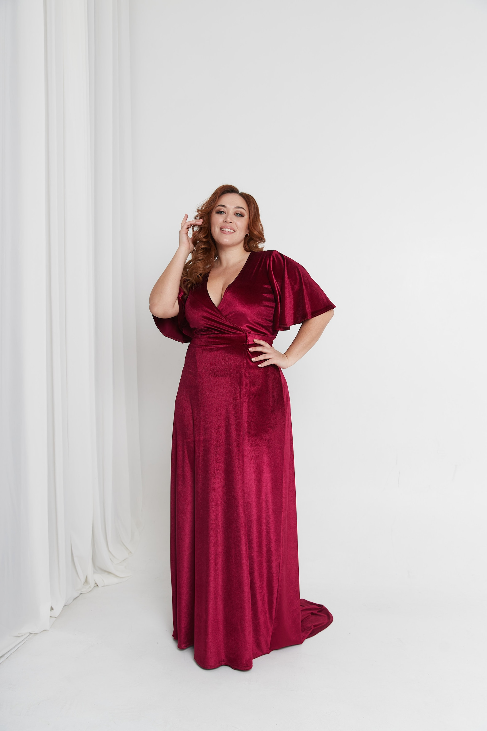 Velvet wrap bridesmaids dress