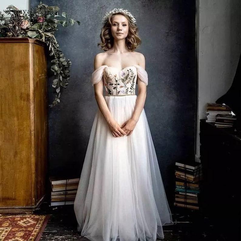 Unique floral bodice wedding dress
