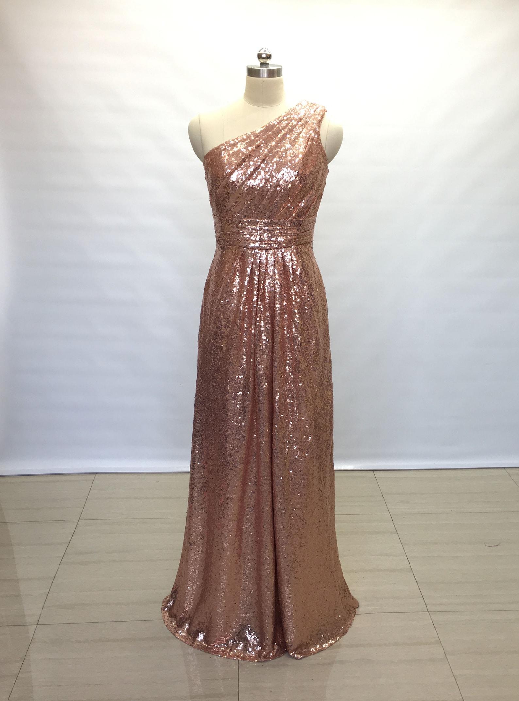 Rose-gold sequin bridesmaid dress