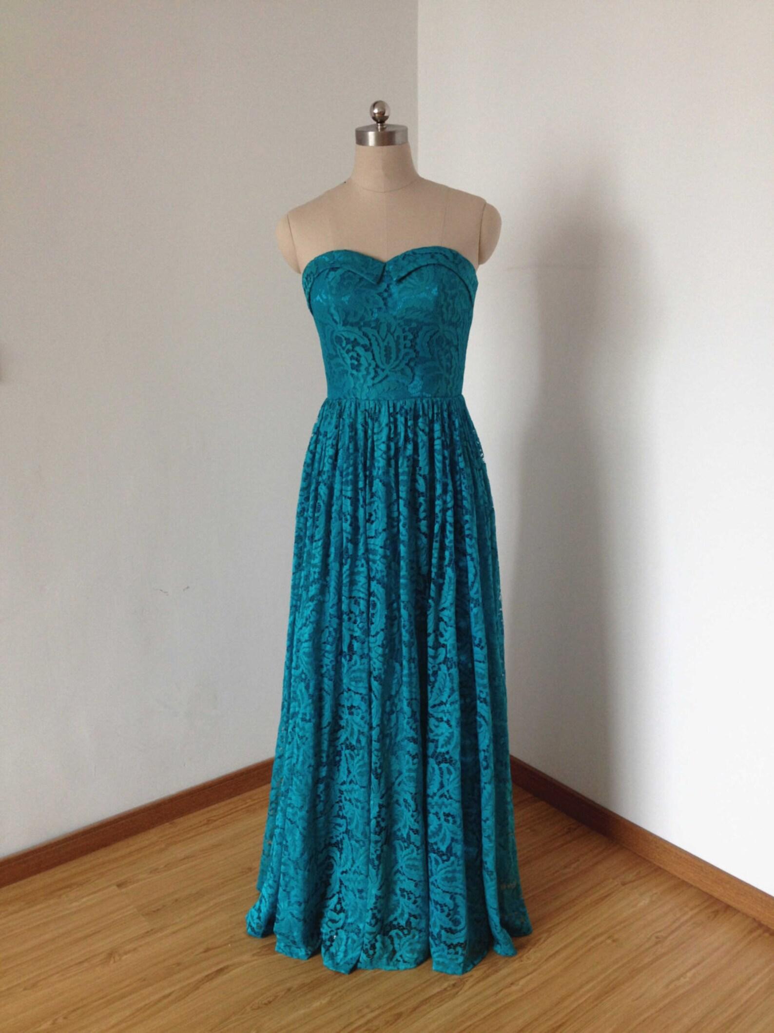 Sweetheart neckline lace bridesmaid dress