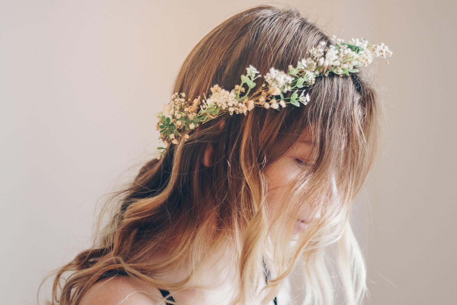 Whimsical dried flower crown