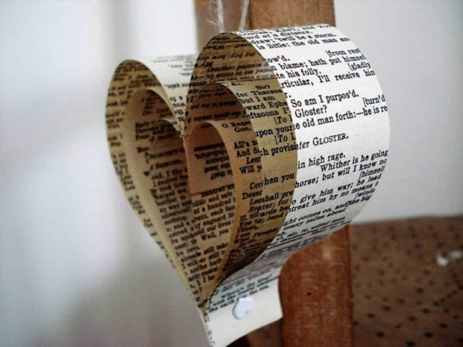 Heart decorations from old books