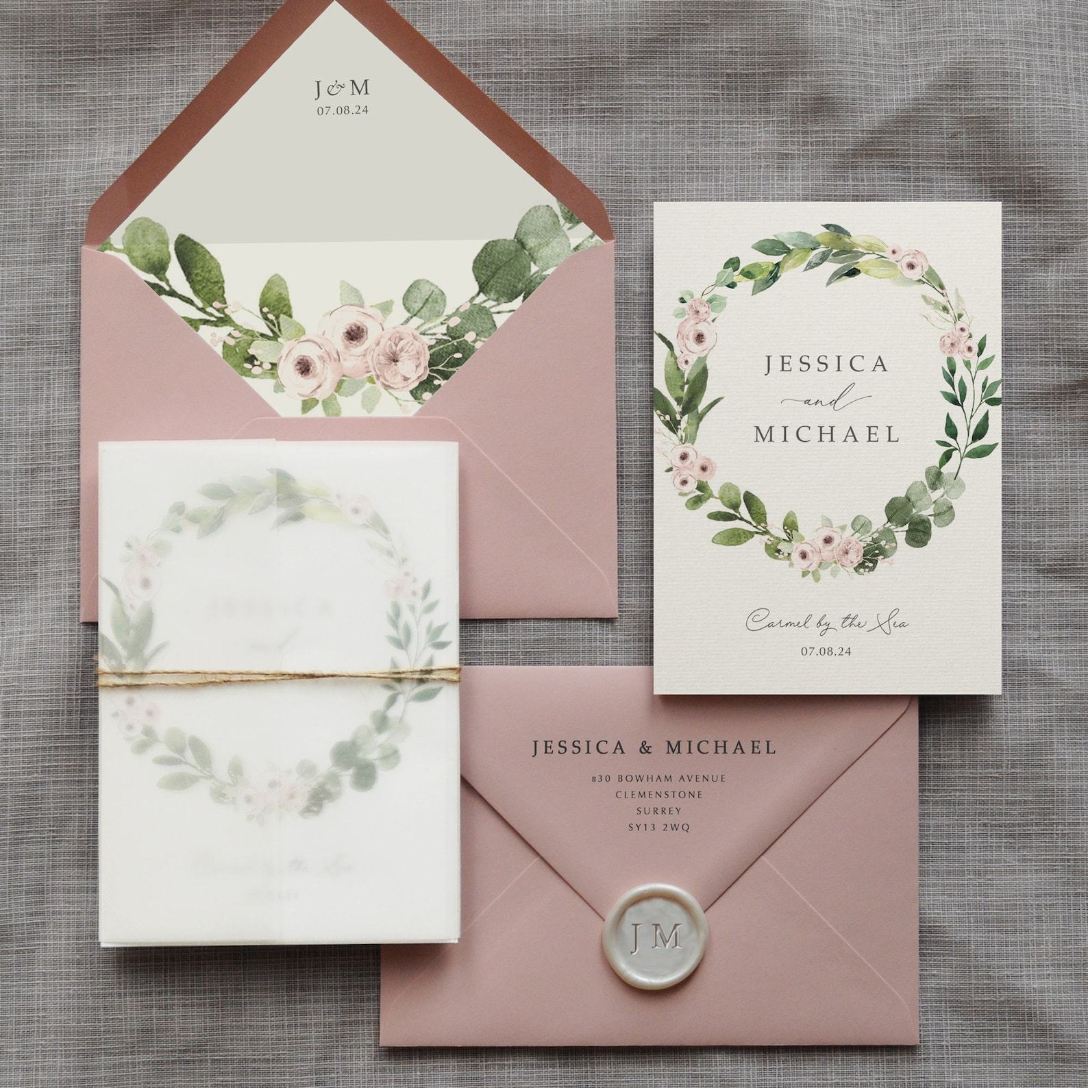 Rustic pink and green wreath invitation
