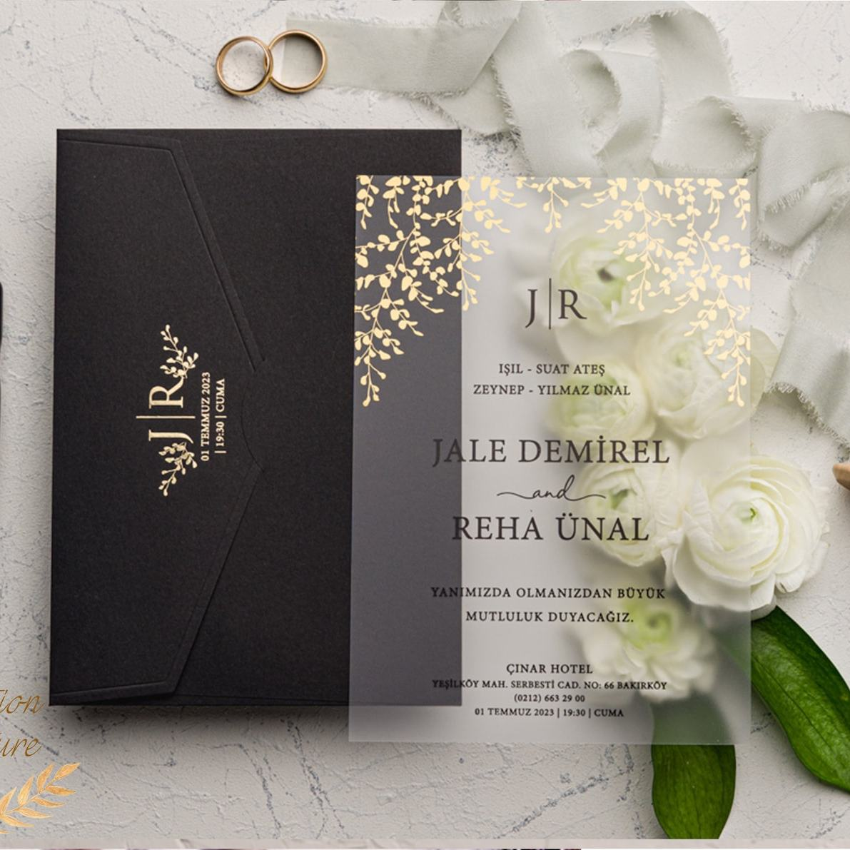 Clear acrylic gold and black invitation