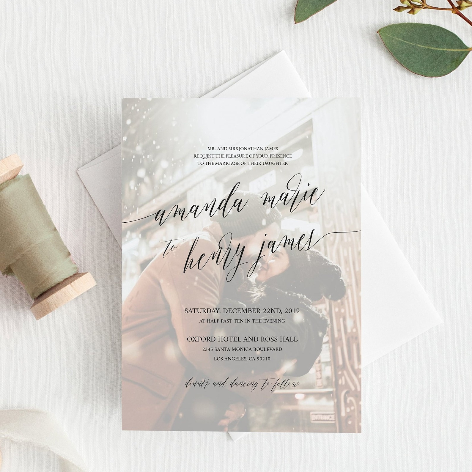 Wedding invitation with your photo in the background