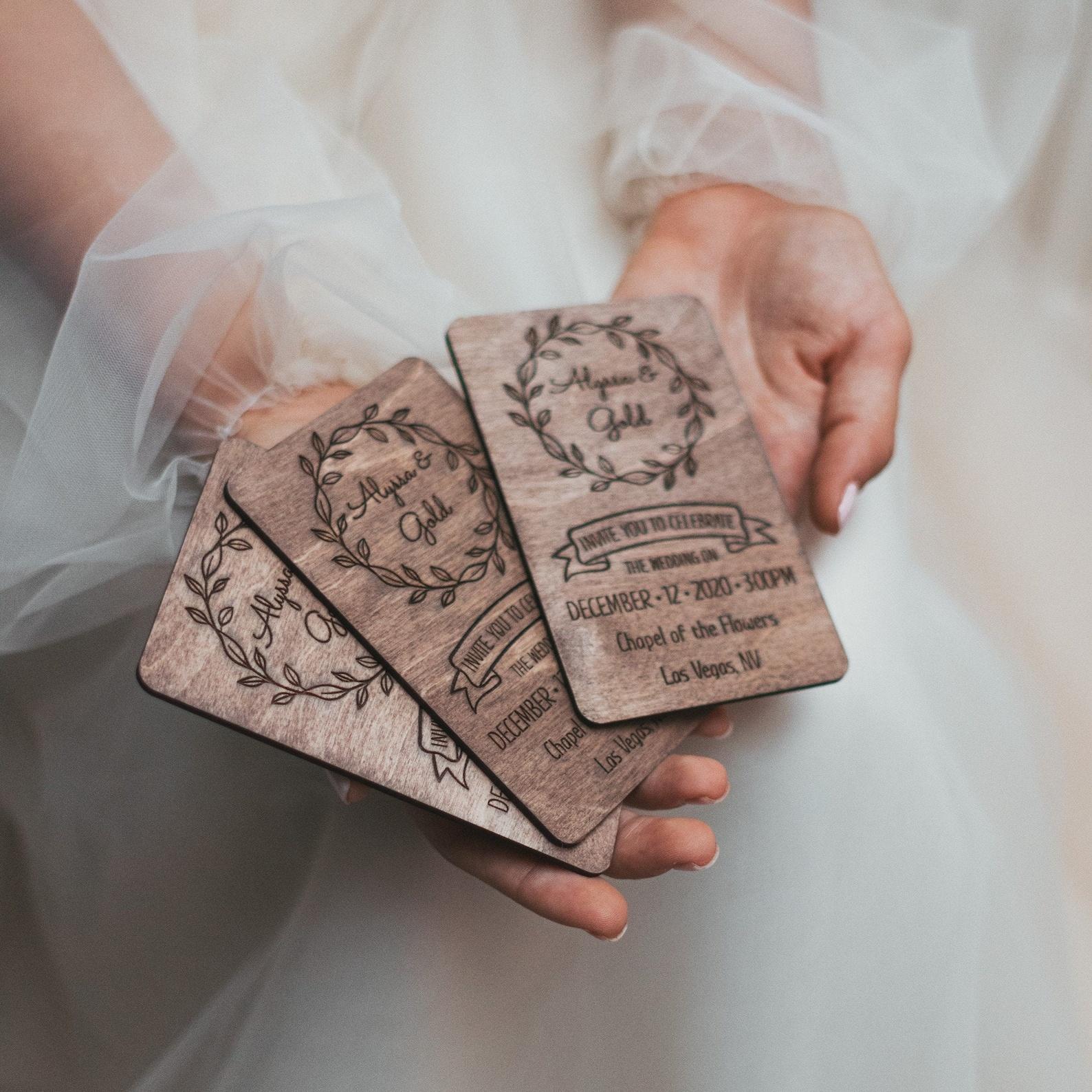 Rustic wooden wedding invitation