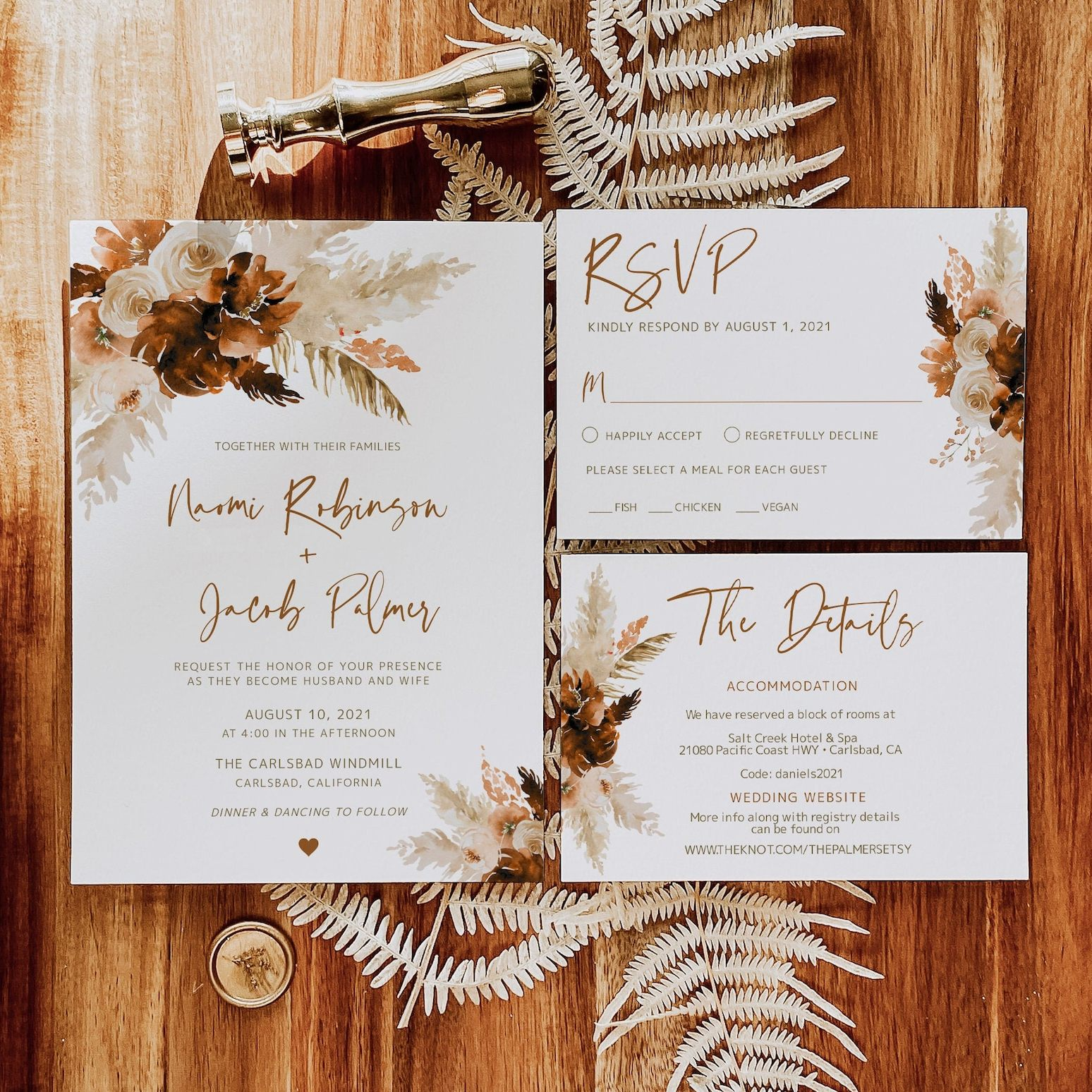 Dried flowers and pampas grass rustic wedding invitation
