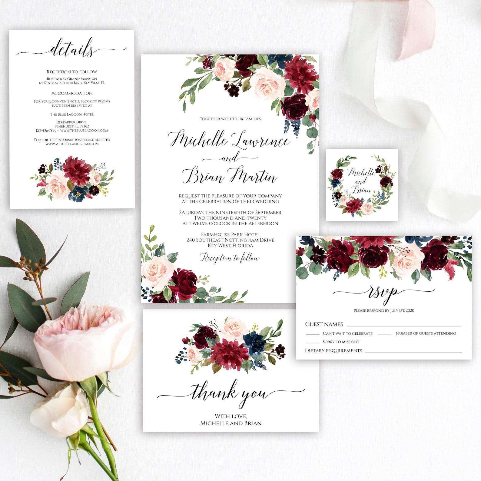 Burgundy and blush floral wedding invitation