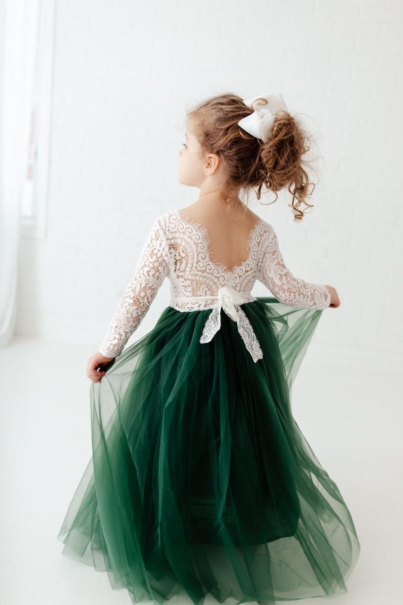 Hunter green flower girl dress