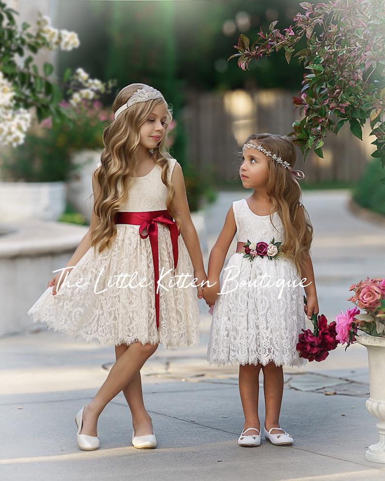 Lace boho flower girl dress