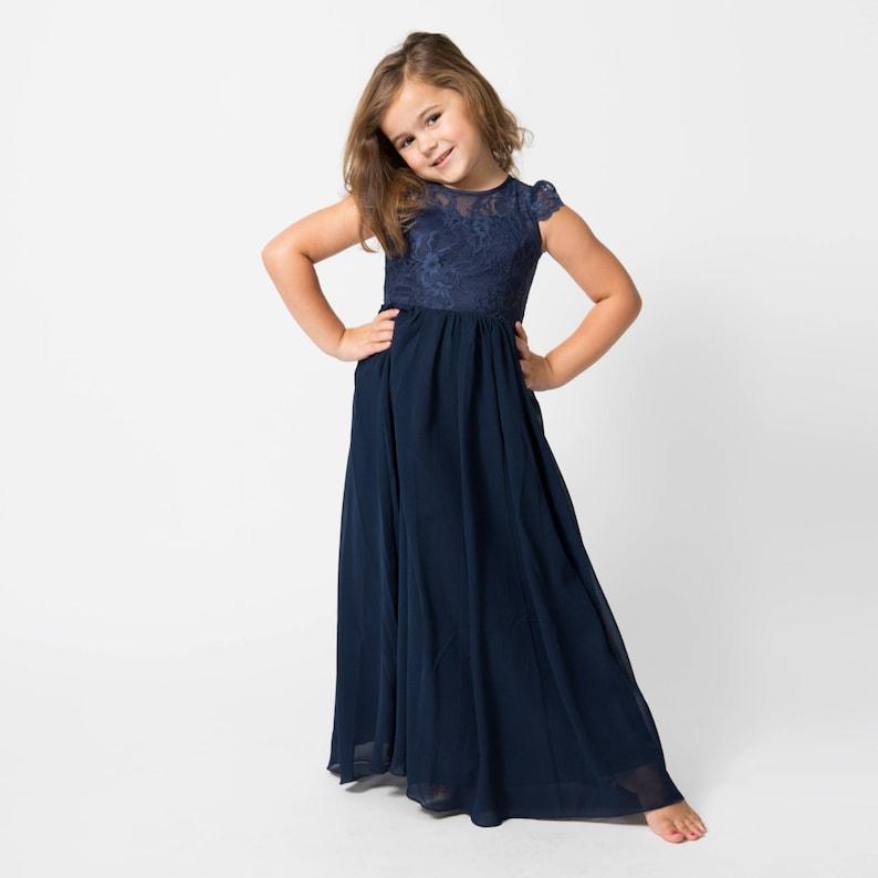 Navy full-length flower girl dress