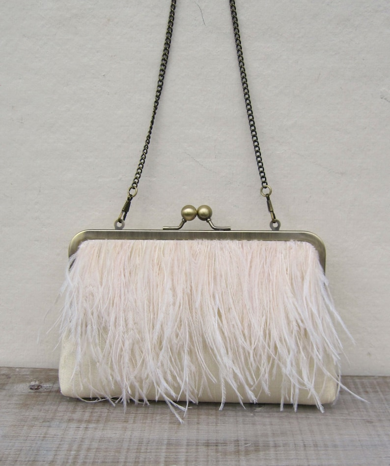 Ostrich feather purse