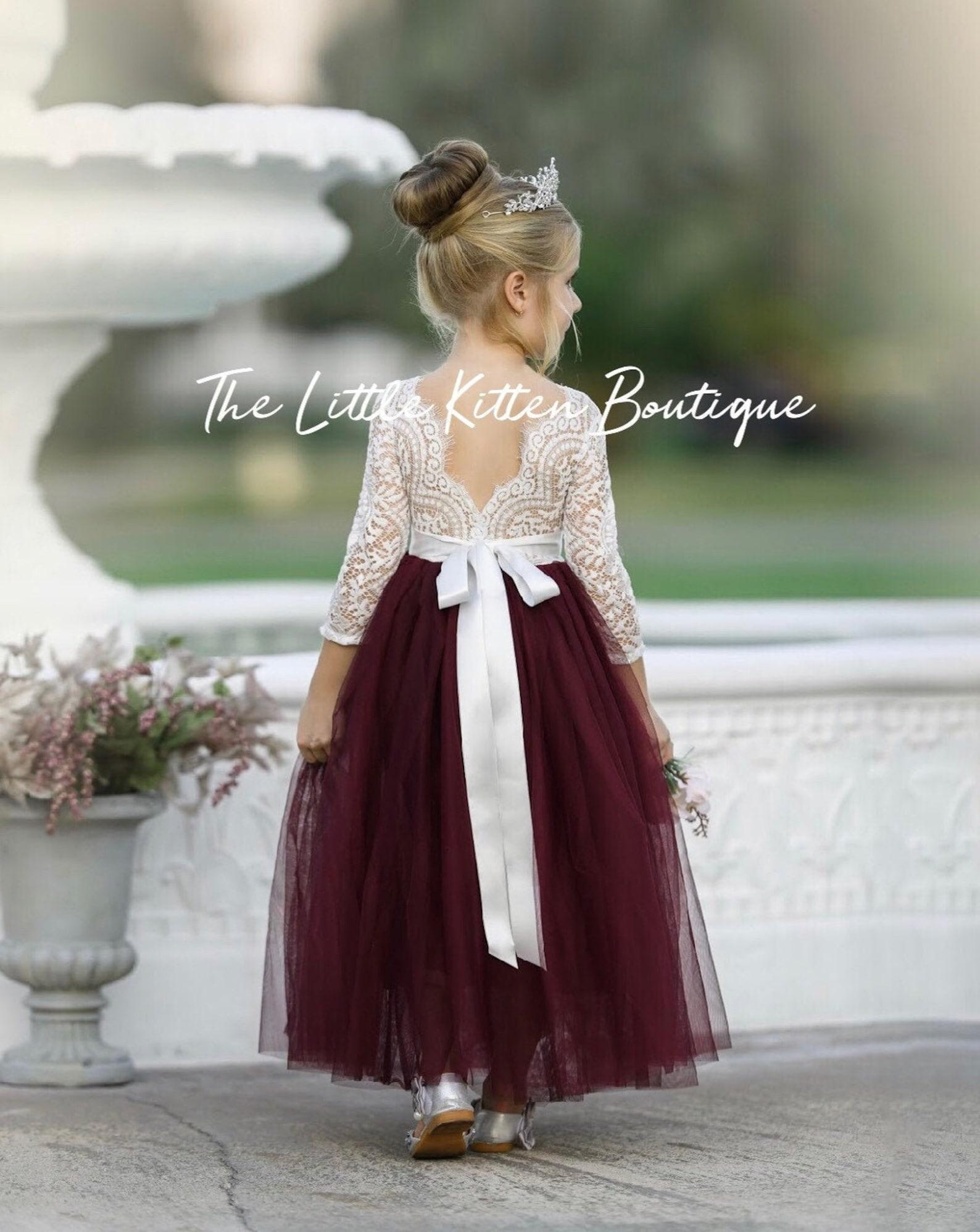 Burgundy flower girl dress