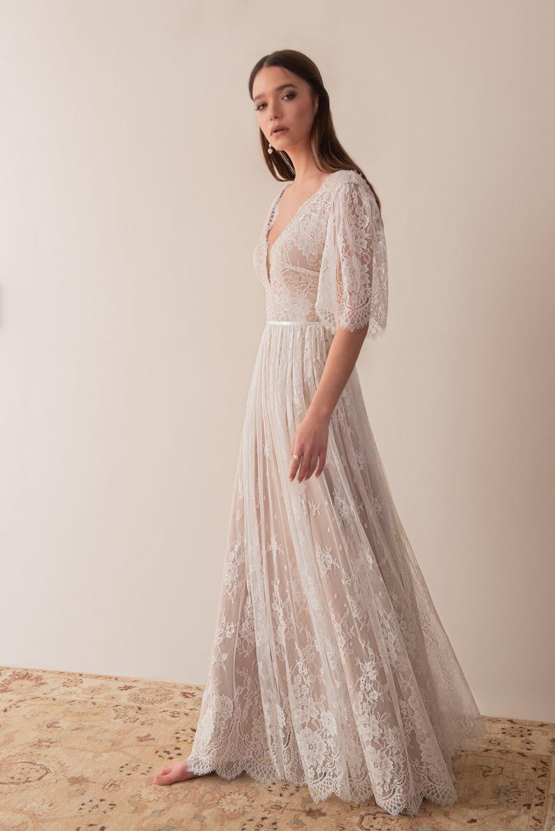 Flutter sleeve Boho wedding dress