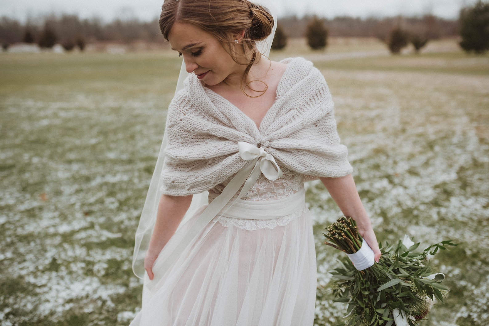 Knitted bridal shawl for winter weddings
